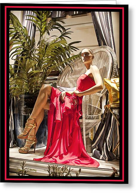 Store Fronts Greeting Cards - Red Dress Greeting Card by Chuck Staley