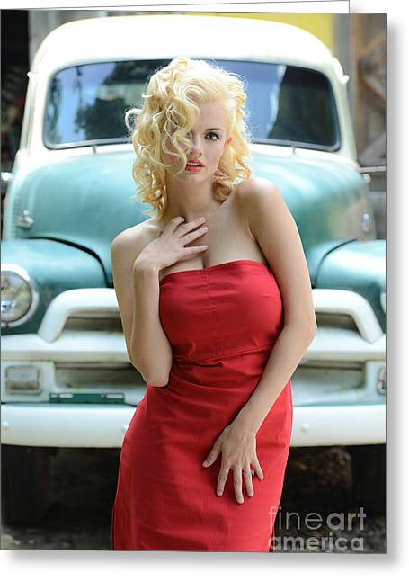 Red Dress Greeting Cards - Red Dress Marilyn Monroe style Greeting Card by Jt PhotoDesign