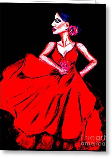 Photo Manipulation Paintings Greeting Cards - Red dress Greeting Card by Oksana Semenchenko