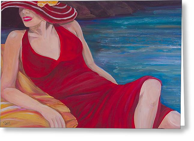 Daydreamer Greeting Cards - Red Dress Reclining Greeting Card by Debi Starr