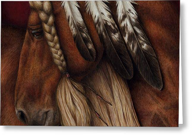 Eagle Feathers Greeting Cards - Red Eagle Greeting Card by Pat Erickson