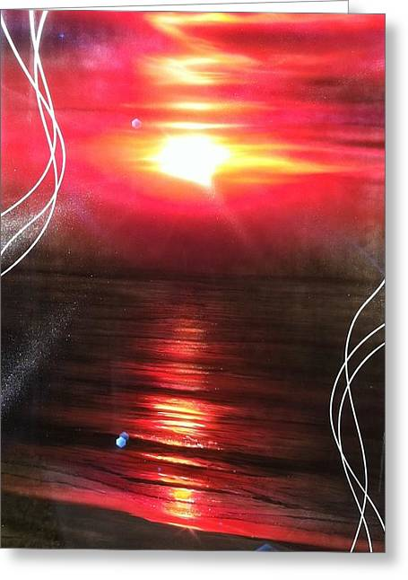 Sun Rays Paintings Greeting Cards - Red Earth Greeting Card by Christian Chapman Art