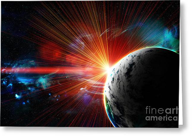 Red Earth The Blue Planet Greeting Card by Boon Mee