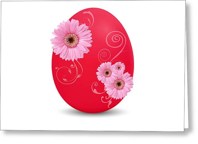 Easter Flowers Greeting Cards - Red Easter Egg Greeting Card by Aged Pixel