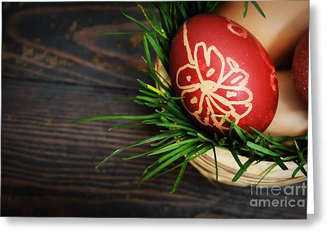 Easter Flowers Pyrography Greeting Cards - Red easter eggs Greeting Card by Jelena Jovanovic