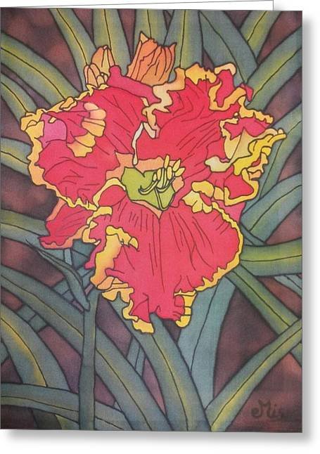 Bright Tapestries - Textiles Greeting Cards - Red edged daylily Greeting Card by Edvinas Misiukevicius