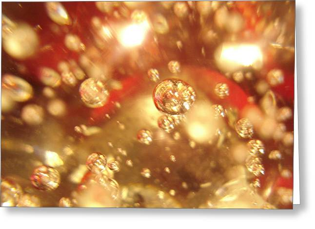 Emergence Digital Art Greeting Cards - Red Effects with Bubbles Greeting Card by Sheri Dean