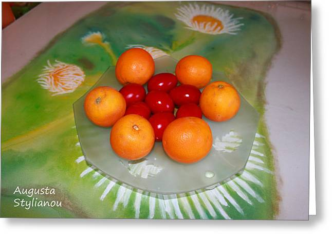 Easter Flowers Greeting Cards - Red Eggs And Oranges Greeting Card by Augusta Stylianou