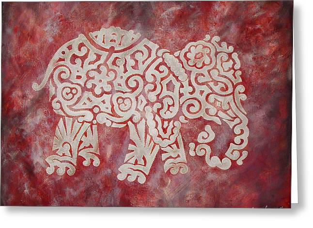 University Of Alabama Greeting Cards - Red Elephant Greeting Card by Jennifer Kelly