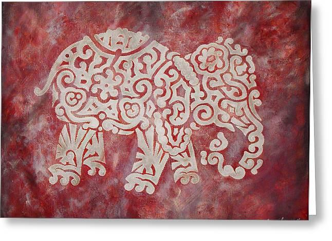 Red Elephant Greeting Card by Jennifer Kelly