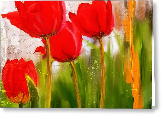 Red Wall Greeting Cards - Red Enigma- Red Tulips Paintings Greeting Card by Lourry Legarde