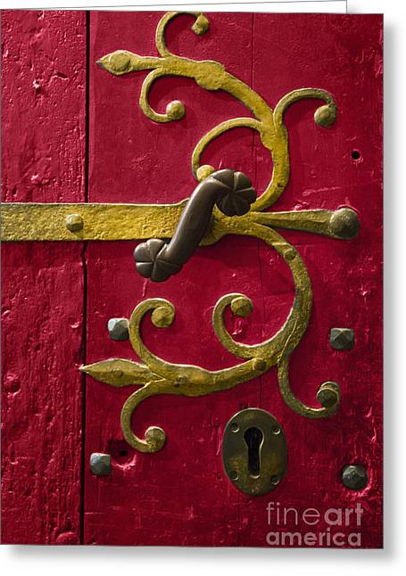 Gold Trim Greeting Cards - Red Entrance Greeting Card by Margie Hurwich