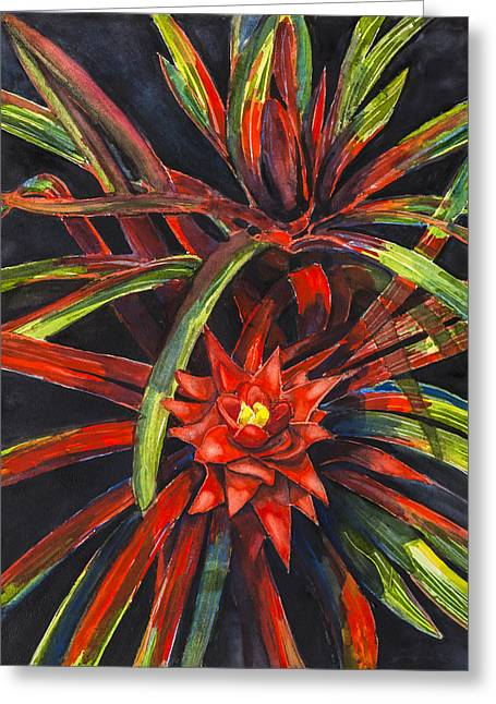 Bromeliad Greeting Cards - Red Explosion Greeting Card by Lourdan Kimbrell