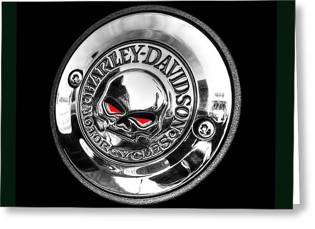 Iconic Greeting Cards - Red Eye Harley Skull Greeting Card by Gill Billington