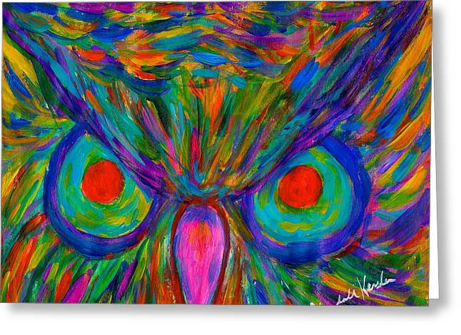 Impressionist Greeting Cards - Red Eyed Hoot Greeting Card by Kendall Kessler