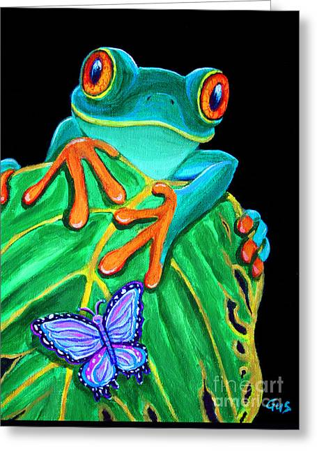 Red Eye Greeting Cards - Red-eyed tree frog and butterfly Greeting Card by Nick Gustafson