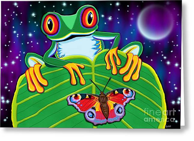 Tree Frogs Greeting Cards - Red Eyed Tree Frog and Moth Greeting Card by Nick Gustafson