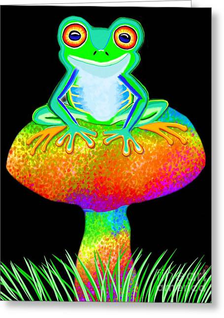 Tree Frog Greeting Cards - Red Eyed Tree Frog and Mushroom Greeting Card by Nick Gustafson