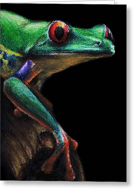 Amphibians Pastels Greeting Cards - Red-eyed Tree Frog Greeting Card by David Joffe
