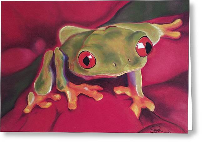 Tree Frog Pastels Greeting Cards - Red-Eyed Tree Frog on Red Foliage Greeting Card by Cristel Mol-Dellepoort