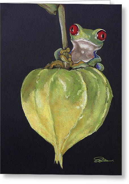 Amphibians Pastels Greeting Cards - Red-Eyed Tree Frog on Seed Pod Greeting Card by Cristel Mol-Dellepoort