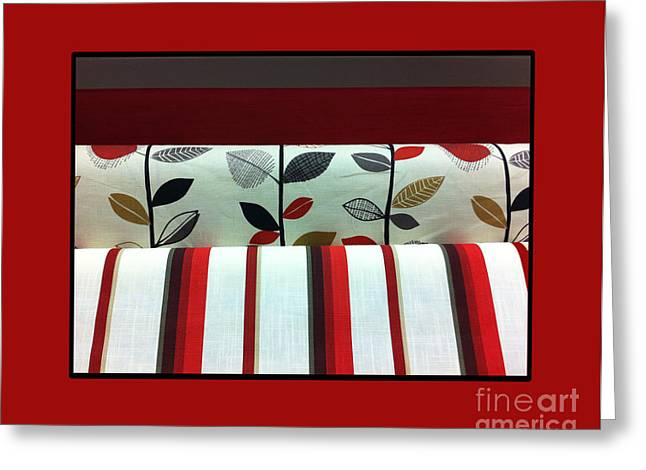 Barbara Griffin Quilts Greeting Cards - Red Fabric Swatches with Red Border Greeting Card by Barbara Griffin