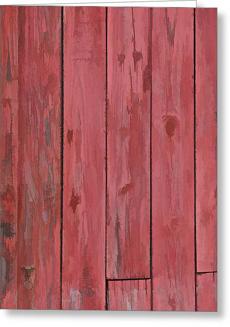 Worn In Greeting Cards - Red Faded Barn Boards Greeting Card by David Letts