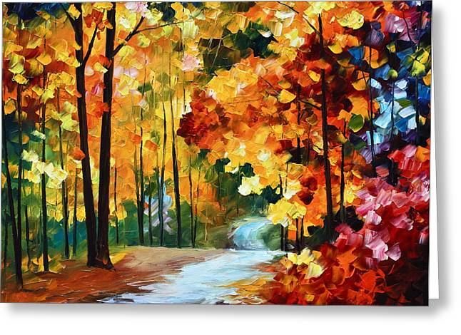 Wooded Park Greeting Cards - Red Fall Greeting Card by Leonid Afremov