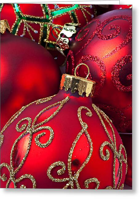 Spheres Greeting Cards - Red fancy Christmas ornament Greeting Card by Garry Gay