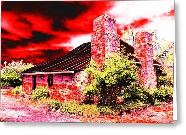 Stone Chimney Greeting Cards - Red Farm Sky Greeting Card by Phill Petrovic