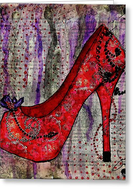 Janelle Nichol Greeting Cards - Red Fashion Shoe with Purple Flower  Greeting Card by Janelle Nichol