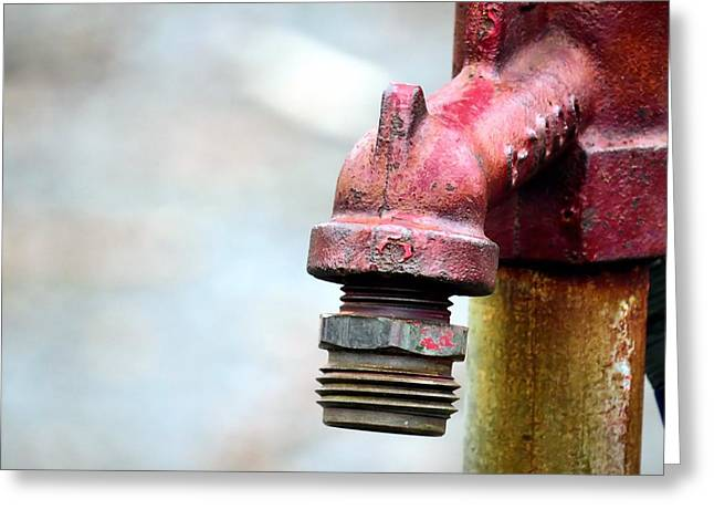 Textile Photographs Greeting Cards - Red Faucet Greeting Card by Janice Drew