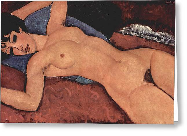 Red Female Nude Painting Greeting Card by Amedeo Modigliani
