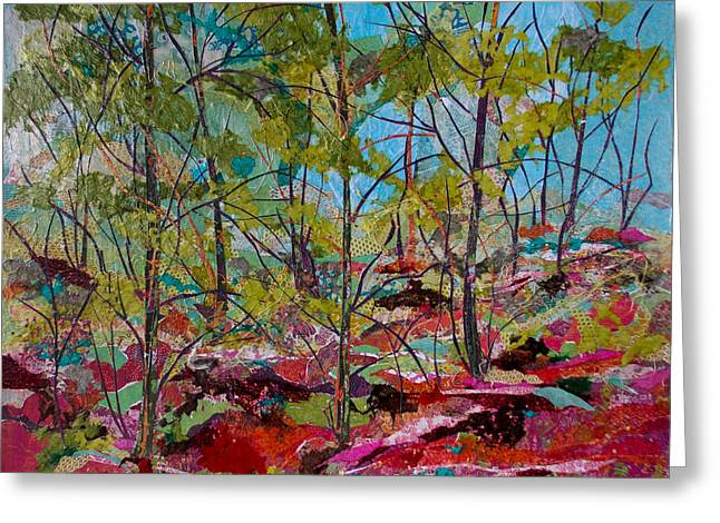 Kat Mixed Media Greeting Cards - Red Ferns Collage Greeting Card by Kat Ebert
