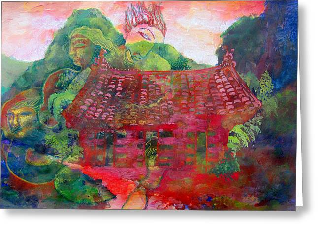 Red Festival Greeting Card by James Huntley