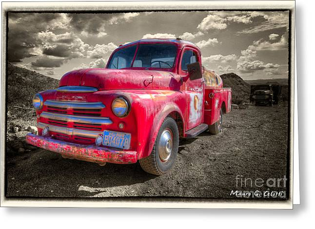 Abstract Digital Pyrography Greeting Cards - Red FireTruck 1 Greeting Card by Mauro Celotti