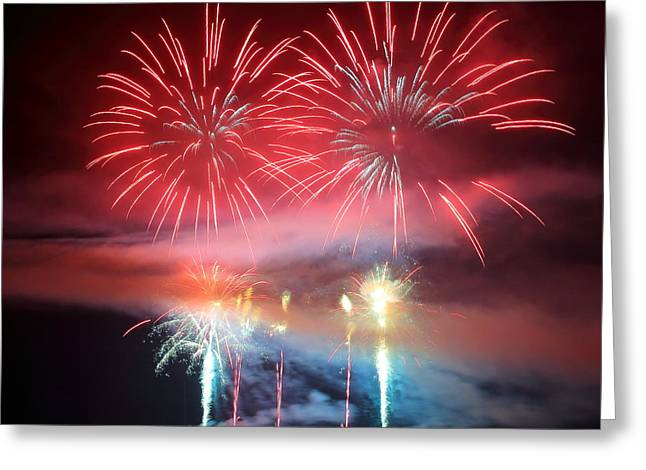 Bastille Greeting Cards - Red fireworks display on lake Greeting Card by Gregory DUBUS