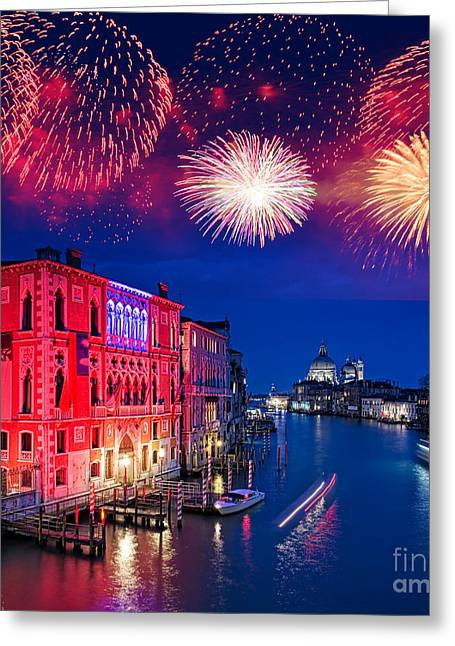 Romanticism Greeting Cards - Red fireworks in Venice Greeting Card by Delphimages Photo Creations
