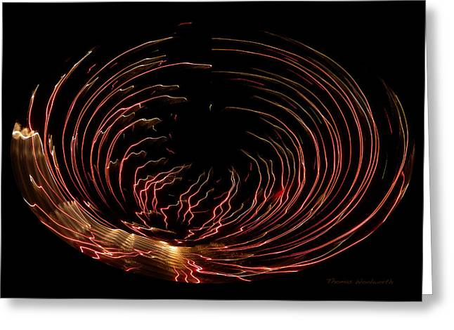 Pyrotechnics Digital Art Greeting Cards - Red Fireworks Polar View Greeting Card by Thomas Woolworth