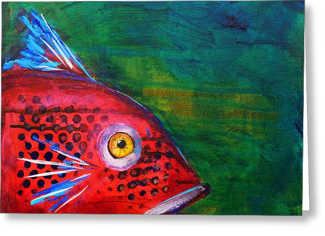 Watery Greeting Cards - Red Fish Greeting Card by Nancy Merkle