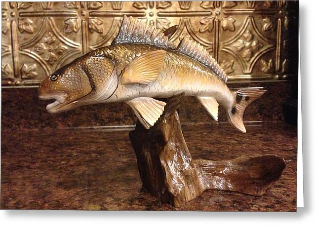 Red Sculptures Greeting Cards - Red Fish on a Drift Greeting Card by Jonathan Gatica
