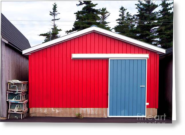 Red Fishing Shack Greeting Cards - Red Fishing Shack PEI Greeting Card by Edward Fielding