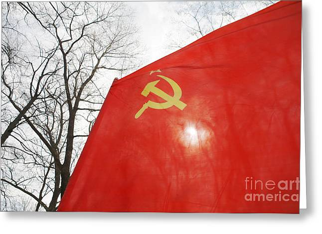 Yellow Hammer Greeting Cards - Red Flag Flying Greeting Card by Aleksey Tugolukov