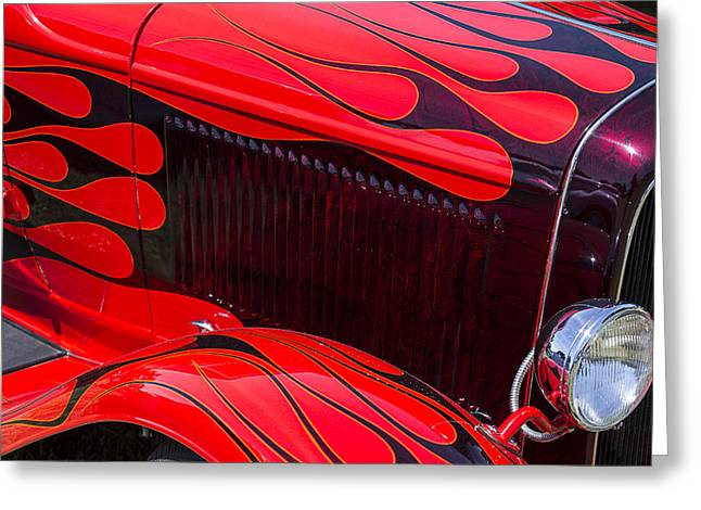 Classic Car.hot-rod Greeting Cards - Red flames hot rod Greeting Card by Garry Gay