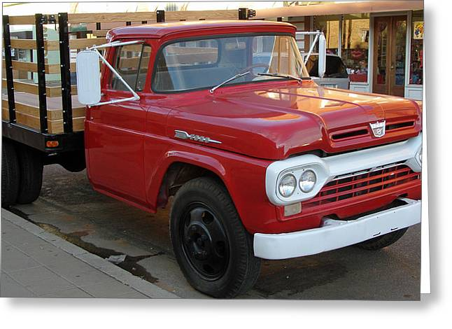 Wooden Sculpture Greeting Cards - Red Flatbed Ford Greeting Card by Roger Reeves  and Terrie Heslop
