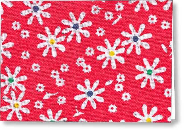 Table Cloth Greeting Cards - Red floral fabric Greeting Card by Tom Gowanlock