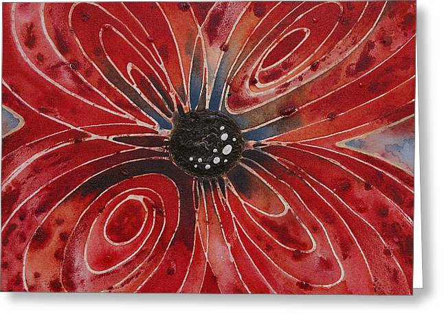 Red Flower 2 - Vibrant Red Floral Art Greeting Card by Sharon Cummings