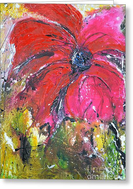 Ismeta Greeting Cards - Red Flower - Abstract Painting Greeting Card by Ismeta Gruenwald