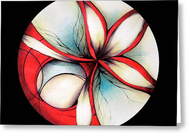 Andrea Carroll Greeting Cards - Red Flower Greeting Card by Andrea Carroll