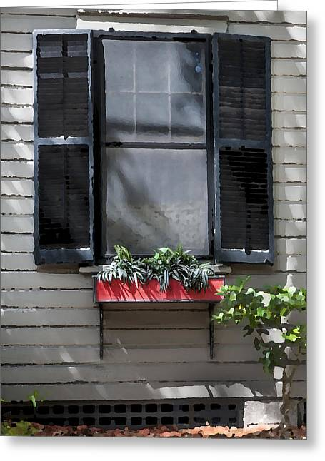 Historic Home Greeting Cards - Red Flower Box St Augustine Greeting Card by Rich Franco